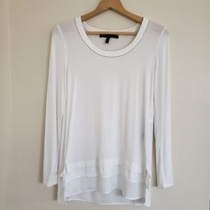 WHBM White Long Sleeve Embellished Collar Top XS